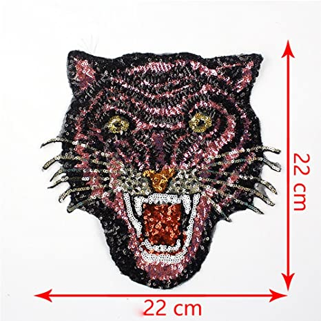 2 Large Tiger Head Applique Embroidery Patch Iron On Patch Lace Motifs Decorated