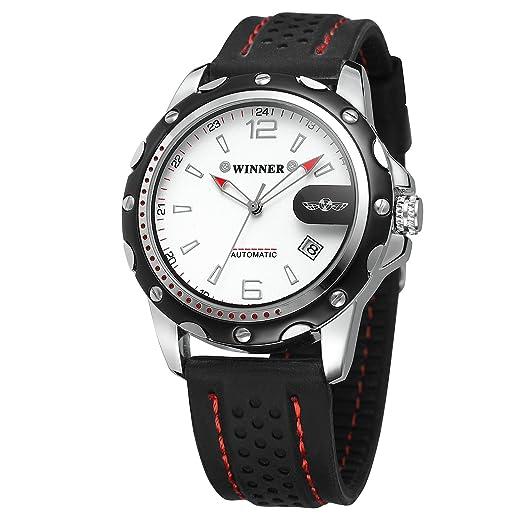 Forsining Hombres de Negocios mecánico relojes esqueleto analógico Dial reloj automático hombres banda de silicona Fecha: Amazon.es: Relojes
