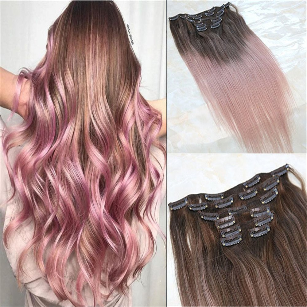 Amazon Com Hairdancing 18 Hightlight Clip In Hair Extensions 7pcs 120g Full Head Hot Light Brown To Pink Rose Gold Color Dye Real Remy Balayage Ombre Human Hair Straight Clips Extensions