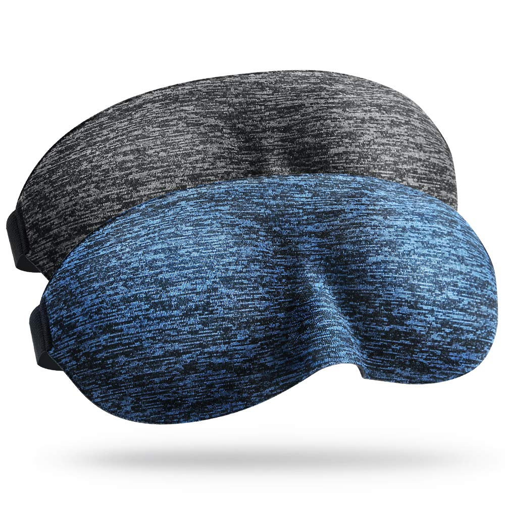 3D Sleep Eye Mask Eyeshade- Super Light Blocking Comfortable Lightweight Sleeping Mask with Adjustable Strap Carry Pouch Big Blindfold for Bedtime Travel Nap Men Women 2 Pack