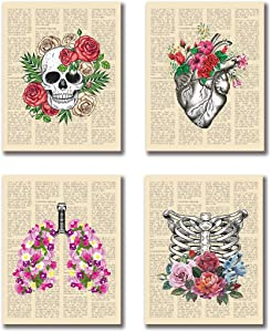 "VOUORON Medical Dictionary Anatomical Skeleton Flowers Art Painting Set of 4 (8""X10"" Canvas Picture) Decor for Doctors Office, Clinic, Med Student Dorm Shabby Chic Gift for Nurses Assistant Frameless"