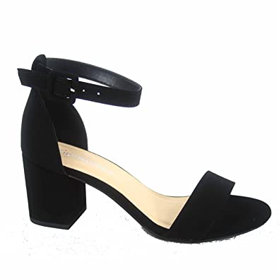 937d674cb381 City Classified Cake-s Women s Fashion Open Toe Ankle Buckle Strap Low Chunky  Heels Sandals