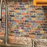 "Art3d 10-Piece Peel & Stick Kitchen/Bathroom Backsplash Sticker, 12"" X 12"" Colorful Marble Tile Design"