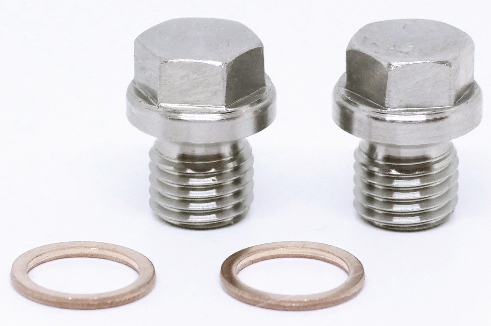 BelMetric (2pcs) M12X1.5 Flanged A2-50 Stainless Steel Hex Head Corrosion Resistant Plugs DIN 910 for Machinery and Fittings, Sealing Washers Included DP12X1.5HSS