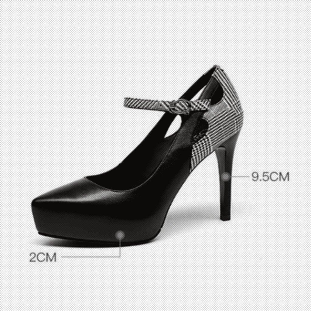 MUMA Pumps Hochhackige Schuhe, Damen Fein Fein Fein Heels, Plaids, Farbabstimmung, Schnalle, Spitze, einzelne Schuhe (Farbe   Schwarz, größe   EU36 UK4 CN36) B07CJ9GKG9 Tanzschuhe Viel Spaß 449289