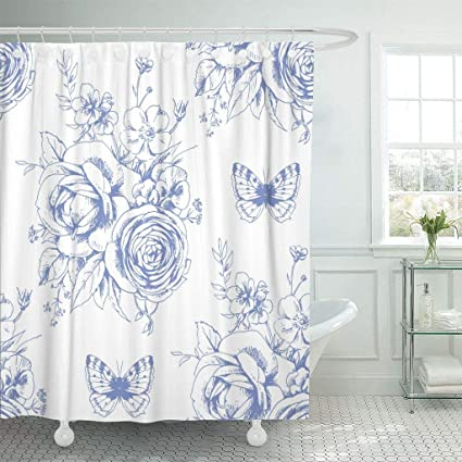 Emvency Fabric Shower Curtain With Hooks Rose Beautiful Pattern Floral Motivies And Butterflies In French