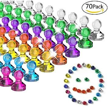 Pins magnéticos multicolor, transparentes, 7 colores, 70 ...