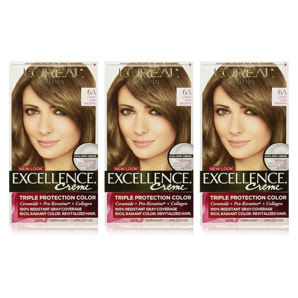 L'Oreal Paris Excellence Creme Hair Color, 6 Light Ash Brown, Pack of 3