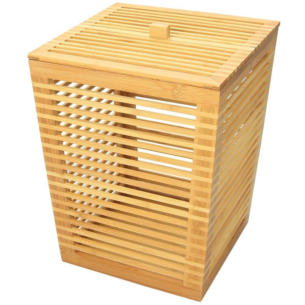 Incroyable 1 poubelle salle de bain & 1 balayette WC couleur bambou lot de 2 SW-09