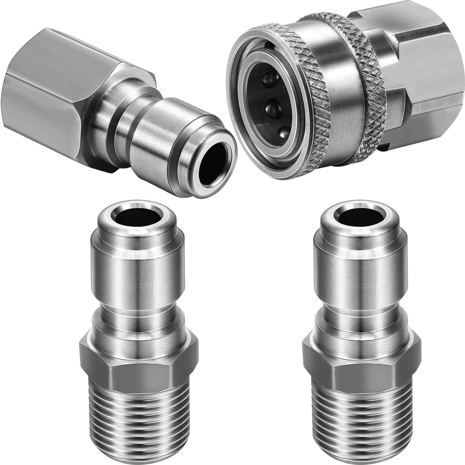 Hotop NPT 3/8 Inch Stainless Steel Male and Female Quick Connector Kit Pressure Washer Adapter Set and 2 Packs NPT 3/8 Inch Stainless Steel Quick Connector Plug Male Nipples