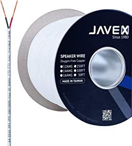 JAVEX CL3/CL2 in-Wall OFC Speaker Wire 16-Gauge AWG [Oxygen-Free Copper 99.9%] for Home Theater and Audio Systems Installation, White,100FT