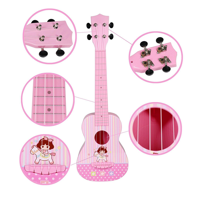 JINRUCHE Guitarra Ukelele, 23 Pulgadas de Arranque de Nylon de Cuerdas de Guitarra clásica para niñas niños niños (Rosa): Amazon.es: Juguetes y juegos