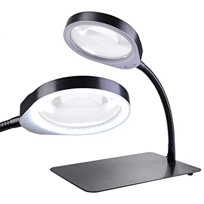 Holulo Desktop Magnifying Glass with LED,2-in-1 10X Magnifier LED Lamp - Lighted Magnifier with Stand Adjustable Metal Hose for Craft, Jewelry,Sewing,Reading (10X Black): Office Products