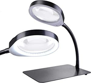 Holulo Desktop Magnifying Glass with LED,10-Diopter 2-in-1 Magnifying Glasses LED Lamp -1344Lumens Lighted Magnifier with Stand Adjustable Metal Hose for Craft, Jewelry,Sewing,Reading (Black)