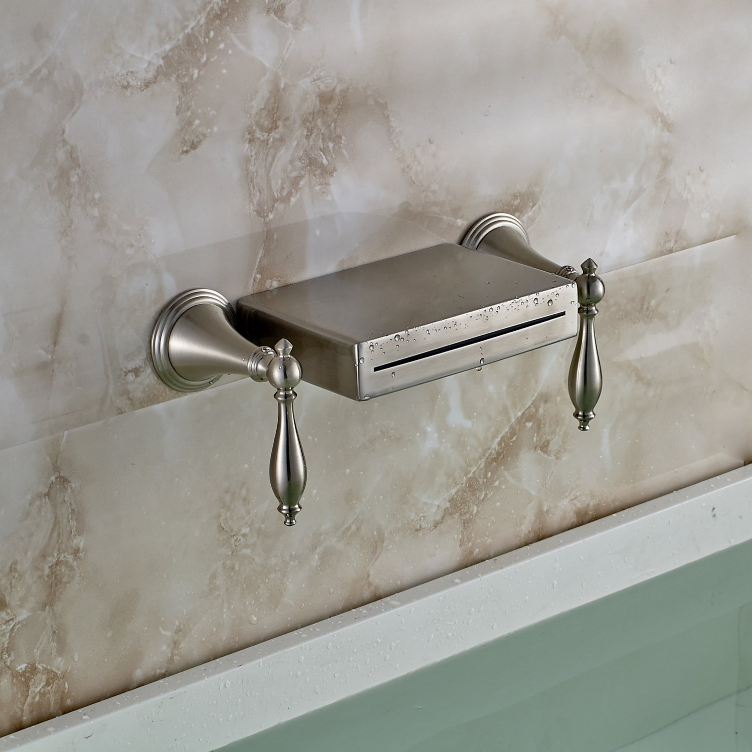 Oulantron Wall Mounted 3 Holes Bathtub Mixer Faucet Dual Knobs ...