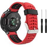 MoKo Watch Band for Garmin Forerunner 235, Soft Silicone Replacement Watch Band for Garmin Forerunner 235 / 220 / 230 / 620 / 630 / 735 Smart Watch - Red & Black