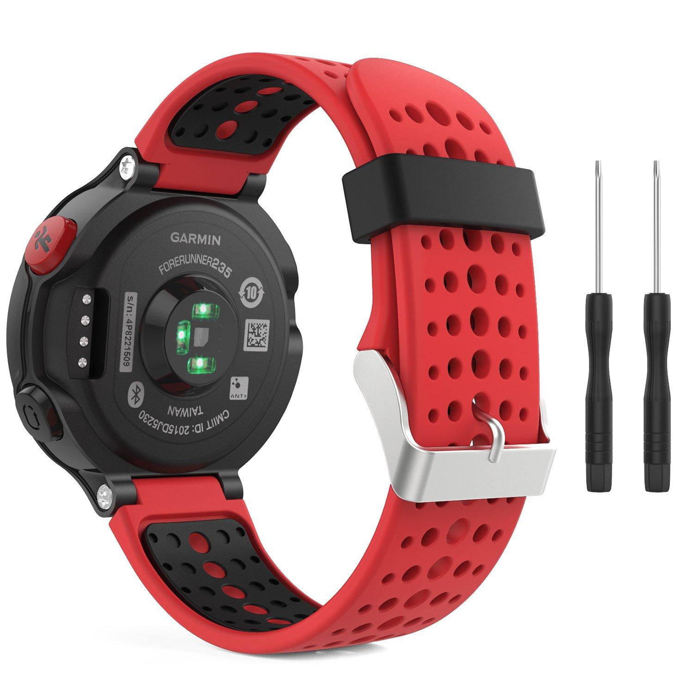 MoKo Watch Band for Garmin Forerunner 235, Soft Silicone Replacement Watch  Band for Garmin Forerunner 235/235 Lite/220/230/620/630/735XT Smart Watch -