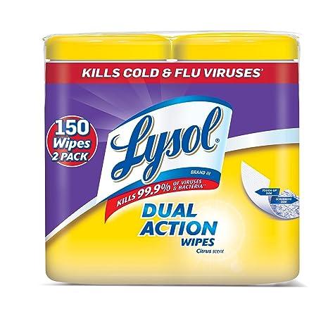 Lysol - Toallitas desinfectantes de doble acción con textura de limpieza, 150 ct (2