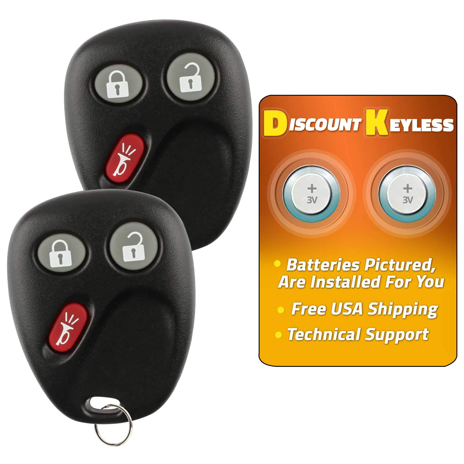 Discount Keyless Replacement Key Fob Car Keyless Entry Remote for Yukon Tahoe Suburban Silverado Sierra Avalanche Escalade LHJ011 (2 Pack) by Discount Keyless