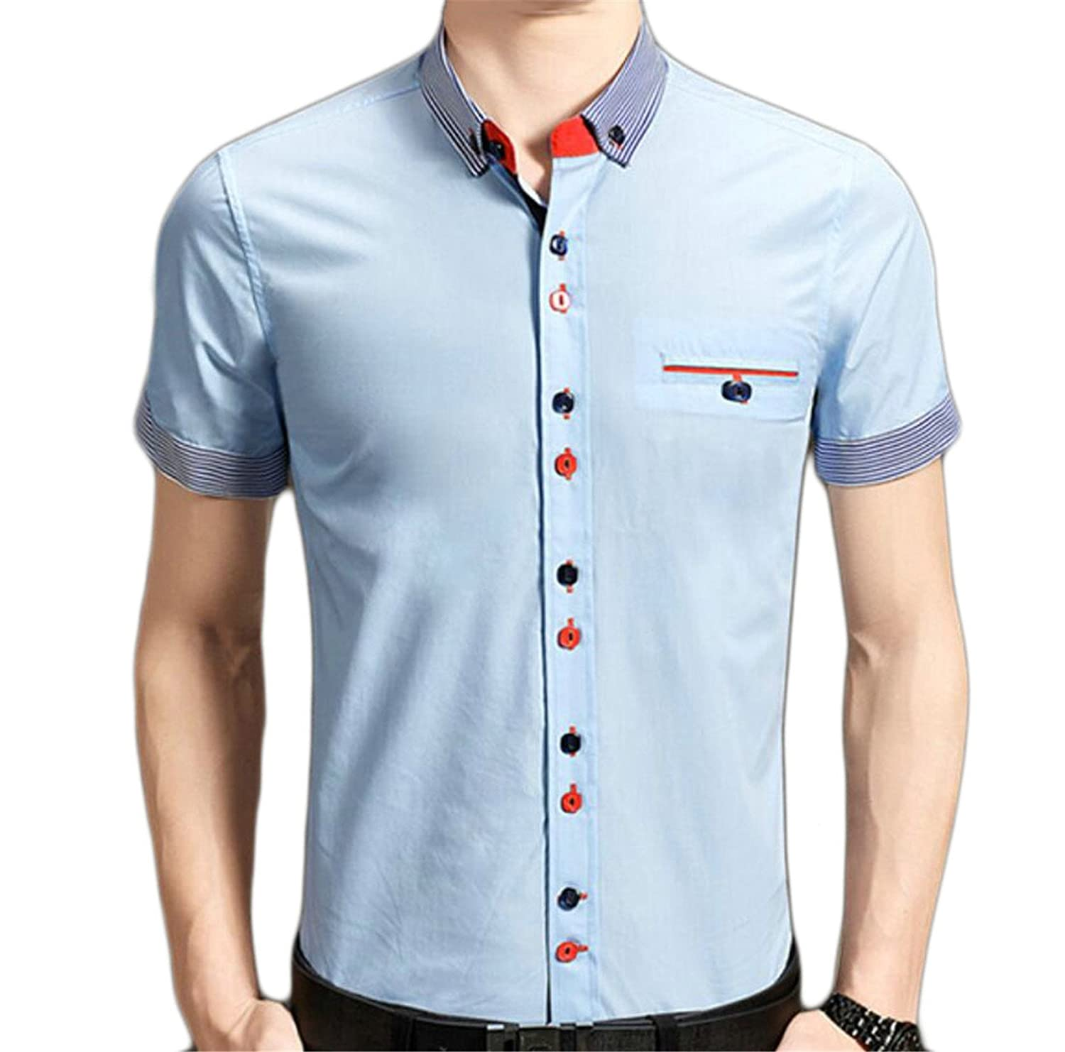 Msw Mens Turn Down Collar Short Sleeve Single Breasted Pockets