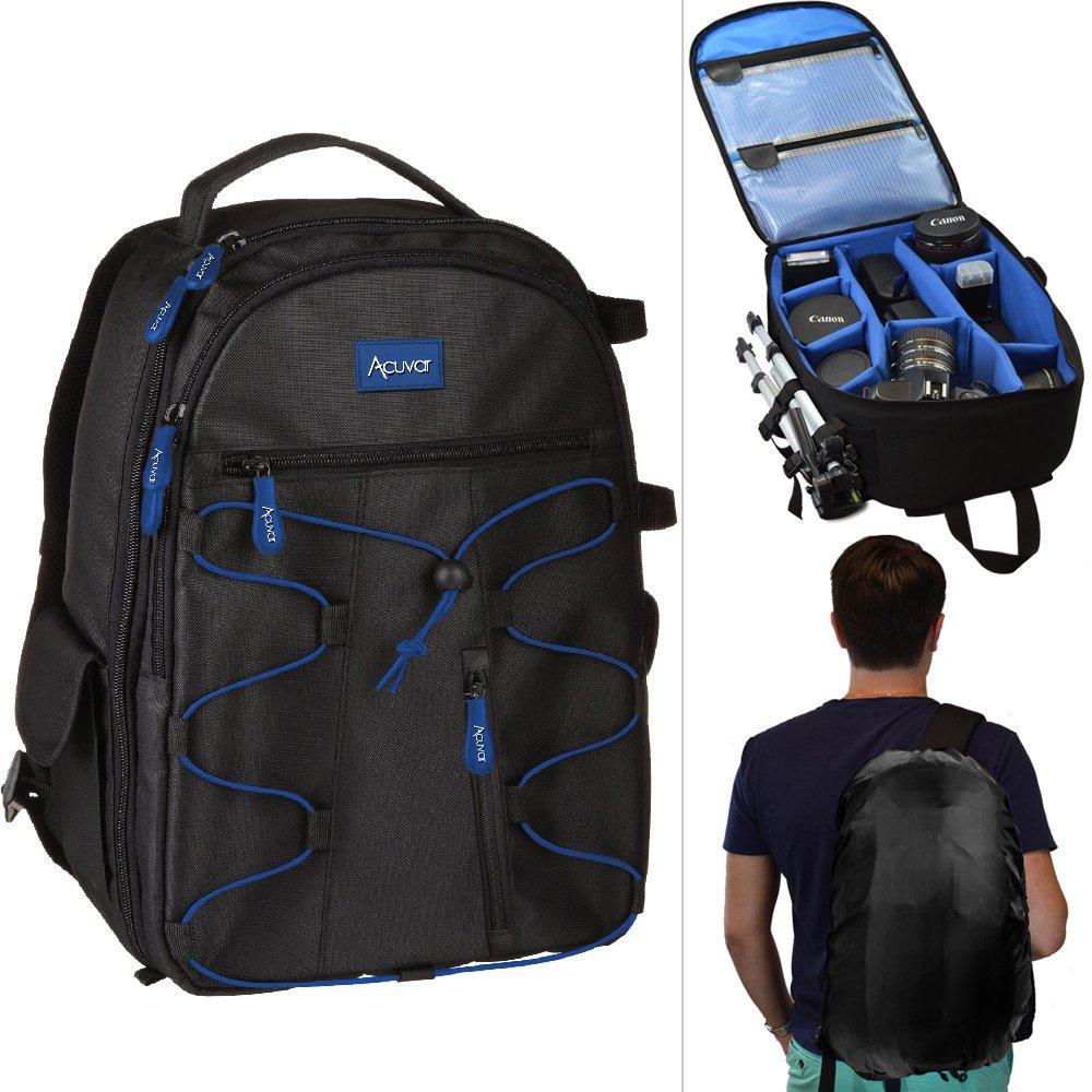 Acuvar Professional DSLR Camera Backpack with Rain Cover for Canon, Nikon, Sony, Olympus, Samsung, Panasonic, Pentax Models.
