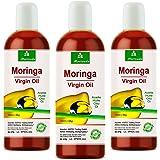 Moringa Öl 300ml von MoriVeda garantiert rein aus Oleifera Ölsamen und Ölschoten für Hautpflege, Haarpflege, Wundpflege, Anti-Aging (3x100ml)