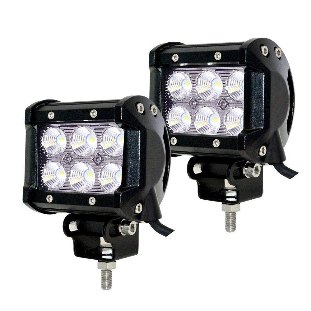 Faros de Trabajo Led,JieHe 2PCS 18W Luces Trabajo Led Flood LED Light Bar Montaje de luces de antiniebla IP67 Impermeable para Off-Road, Camió n,Coche, ATV, SUV, Barco 1800 Lumens Camión