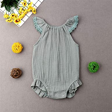 a9ed713182c9 Amazon.com  Newborn Infant Baby Girl Lace Sleeve Linen Romper Jumpsuit  Sleeveless Bodysuit Outfit with Headband Princess Clothes  Clothing