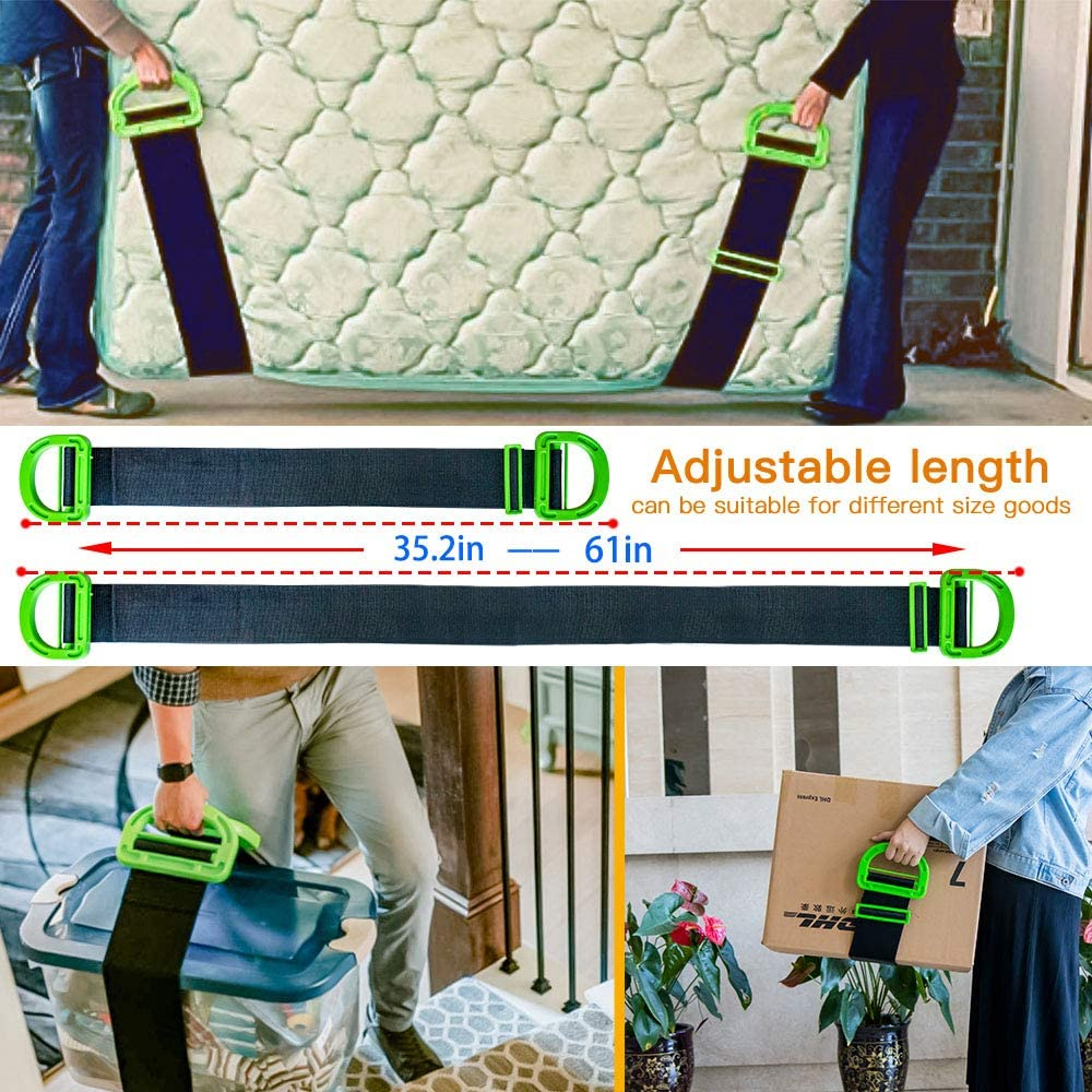 Adjustment Range 35.23-61.02 inches Boxes Mattress and Garden Lifting Adjustable Lifting and Moving Straps,Carrying Belt with The Durable Handles Support 220 Lbs Heavy Object for Furniture