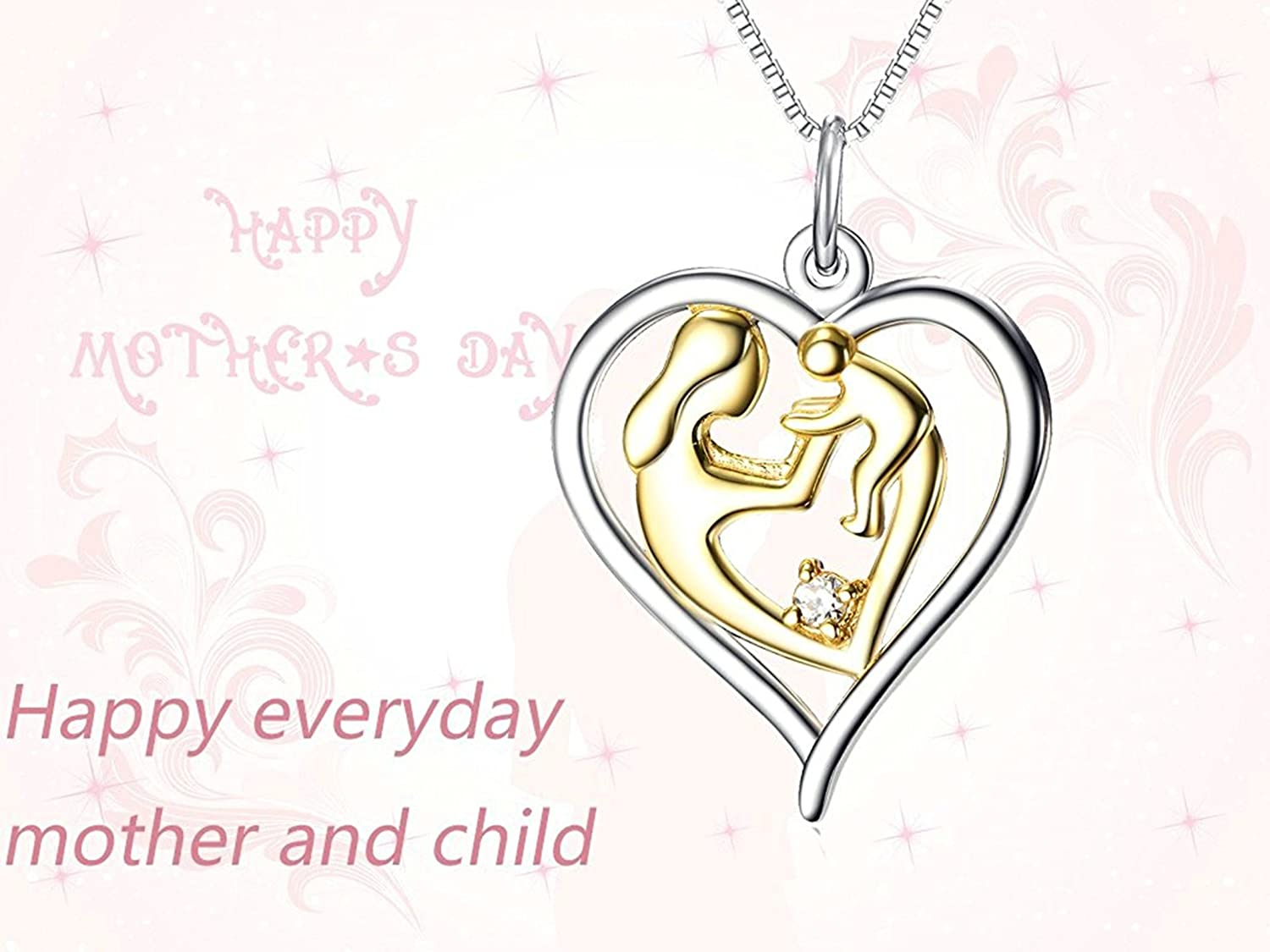 Aooaz Jewelry Mother Silver Plated Mother and Child Eternal Love Heart Pendant Necklace,18