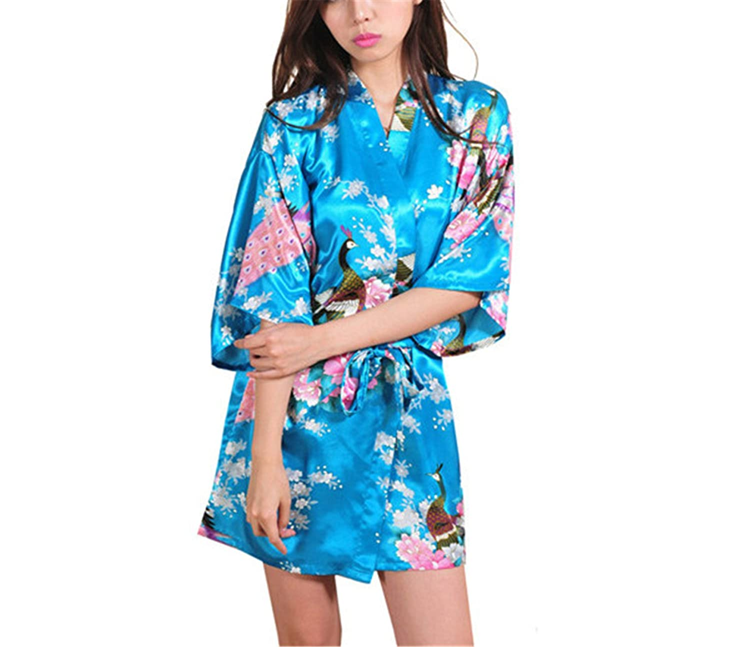RENXINGLI Women Printed Floral Kimono Dress Gown Chinese Style Silk Satin Robe Nightgown at Amazon Womens Clothing store: