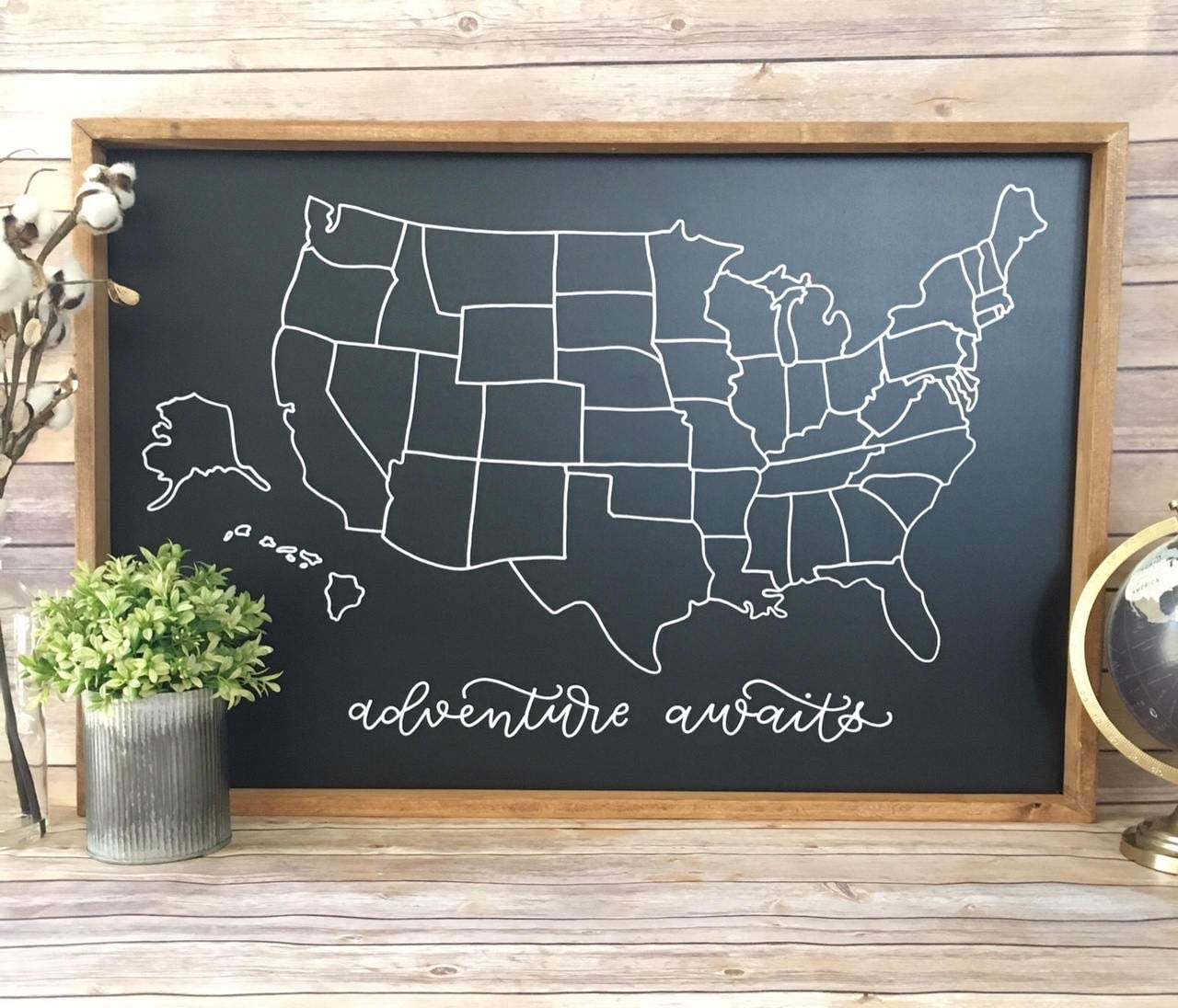 Chalkboard Map Of Us Amazon.com: EricauBird Wall Art US Chalkboard Map // Map of US