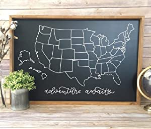 EricauBird Wall Art US Chalkboard Map // Map of US // Color in Map // Framed Map Sign // Map of USA // Gift for Traveler // Adventure Awaits // Map Wall Art Wood Plaque, Custom Gift