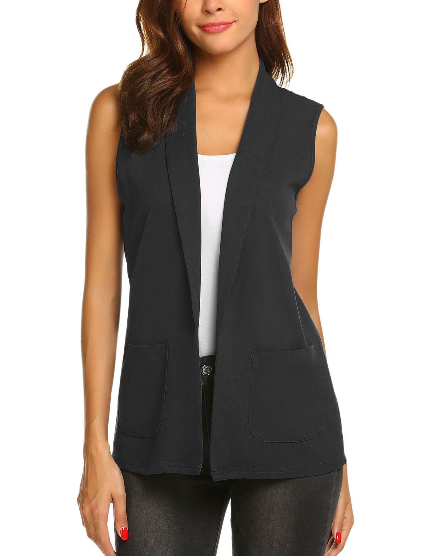 Dealwell Women Oversized Open Blazer Vest Sleeveless Waistcoat Jacket Cardigan Coat (Black, Large)