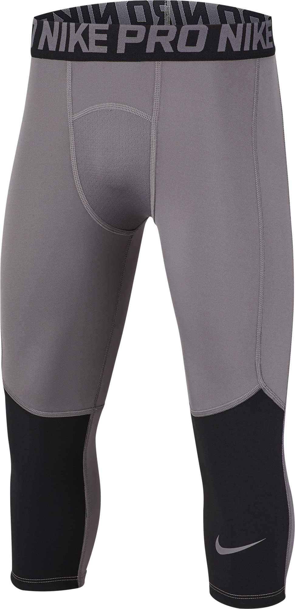 Nike Boys' Pro 3/4 Length Knee Tights - Carbon Heather, Large by Nike