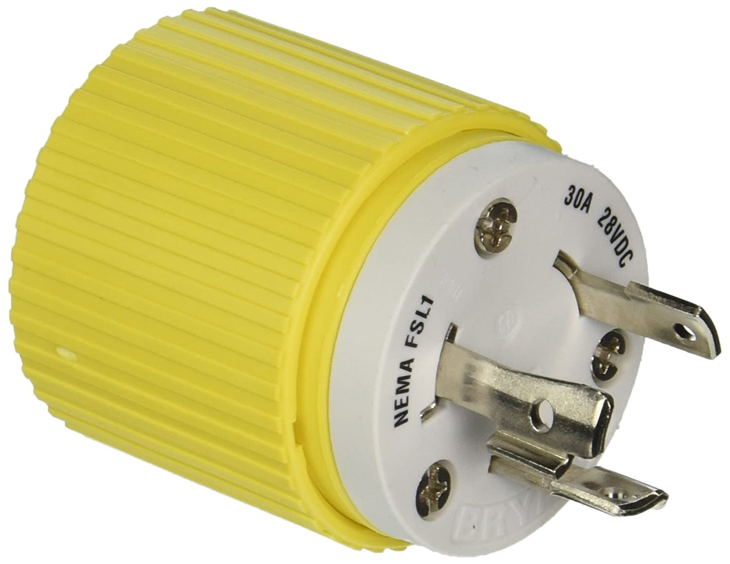 Hubbell Wiring Systems Hbl328dcp Locking Plug 30a 28 Vdc Yellow Cooper Devices 20amp 125volt 3wire Grounding Electric Plugs Industrial Scientific
