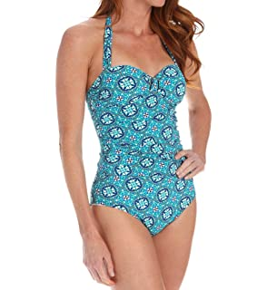 02c7259b8af32 Assets by Spanx Halter Pin Up One Piece Swimsuit Power Suits Slimming 2053