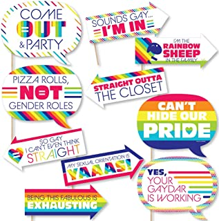 product image for Funny Love is Love - Gay Pride - LGBTQ Rainbow Party Photo Booth Props Kit - 10 Piece