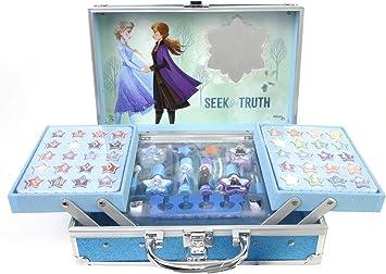 Frozen II Princess Makeup Traincase - Neceser Frozen II, Set de Maquillaje para Niñas - Maquillaje Frozen - Selección de Productos Seguros en un Maletín de Maquillaje Color Azul de Talla Única: