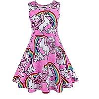 JK Unicorn Girls Dresses Complete Unicorn Pattern sleeveless Dress 725d9cf2de55