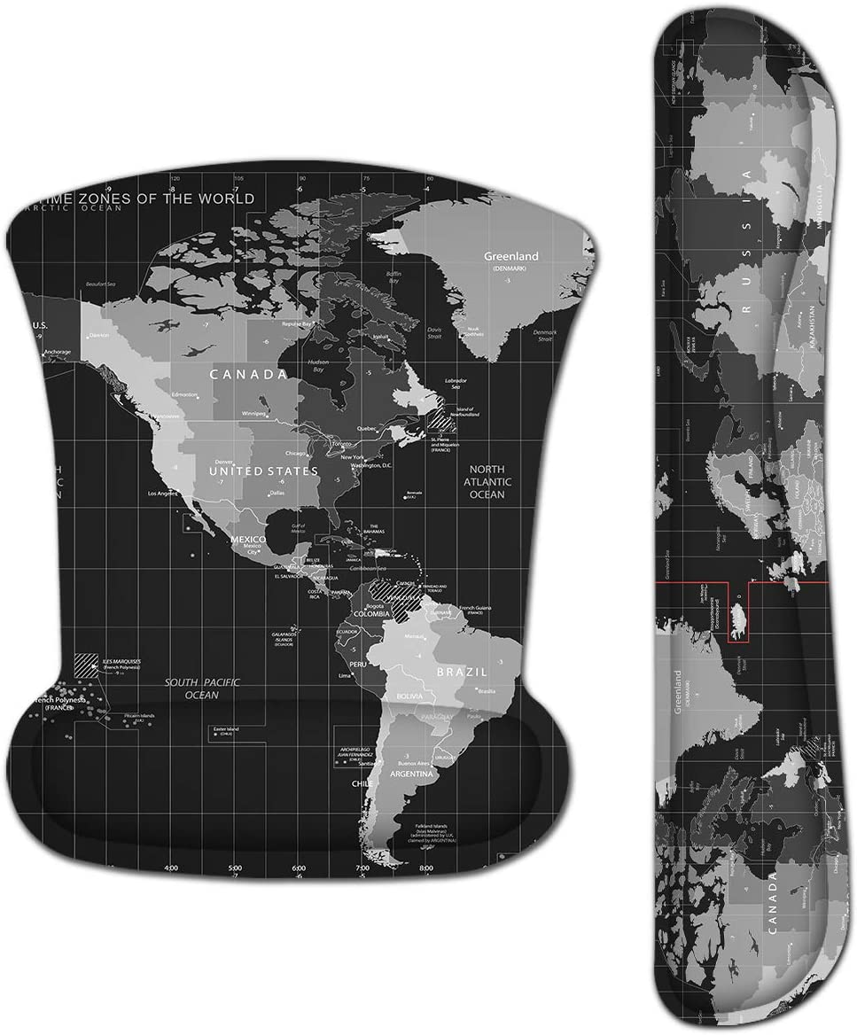 Keyboard Wrist Rest Pad Ergonomic Mouse Pad Set, ToLuLu Mouse Pad for Computer Laptop, Non Slip Mousepad Keyboard Wrist Support with Raised Memory Foam for Easy Typing & Pain Relief, Cool World Map