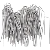 OuYi Garden Staples Galvanized Landscape Sod Stakes, 100 Pack 6 Inch 11 Gauge Rust Resistant Steel Lawn U Pins Pegs-Securing Ground Cover, Weed Barrier Fabric GardenStaple, 100x, Silver
