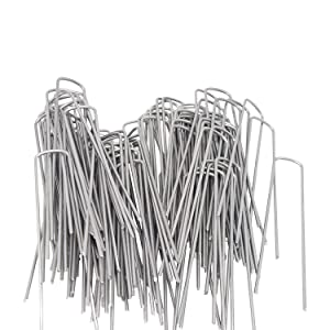 OuYi Garden Staples Galvanized Landscape Sod Stakes, 100 Pack 6 Inch 11 Gauge Rust Resistant Steel Lawn U Pins Pegs - Securing Ground Cover, Weed Barrier Fabric GardenStaple 100x, Silver