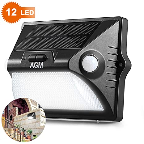 Luces Solares para Jardín, AGM Lámpara Solar de Pared,12LED Coloridas RGB IP65 Impermeable