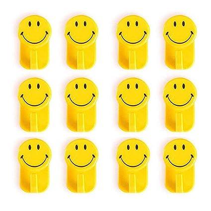 HOKIPO� Plastic Self-Adhesive Smiley Face Hooks, 1 Kg Load Capacity, 12 Piece Set