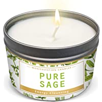 Manifestation Candles Pure Sage Purification and Chakra Healing - Natural Soy Wax Tin Candle