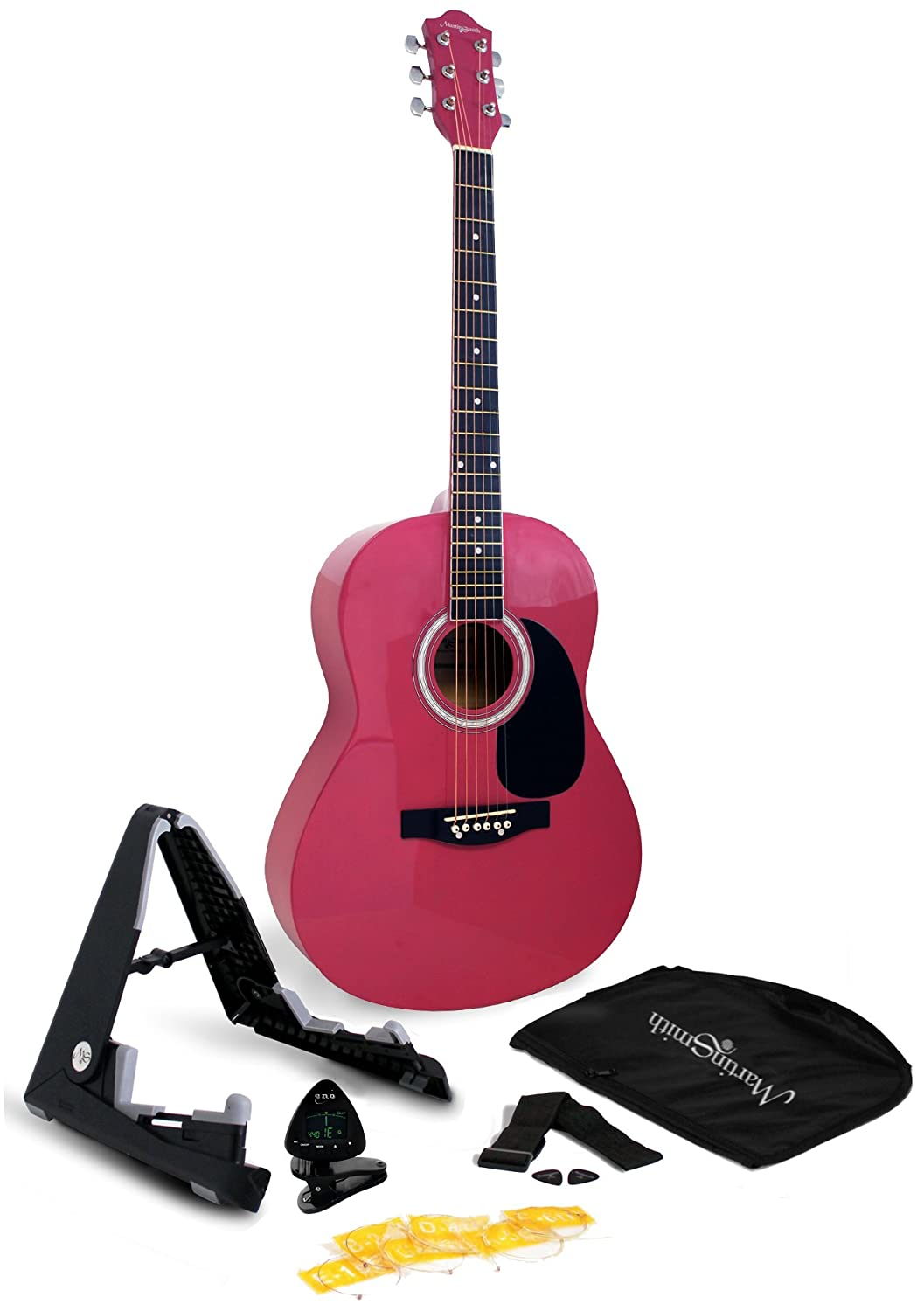 Martin Smith W-101-PNK-PK Acoustic Guitar Super Kit with Stand, Natural, Pink