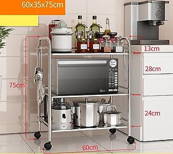 CFstc Estantería de Cocina Estanterías para hornos de microondas Estanterías  de Utensilios de Cocina de Acero Inoxidable (Tamaño   60   35   75cm)  ... 04c152bee164