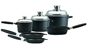 """Amazon Eurocast Professional Cookware Chef Set With 3 Glass Lids/Removable Handles. Includes 1.2 Qt Sauce Pan (6.25""""), 3.2Qt Stock Pot, 5Qt Stock Pot (10""""), 9.5"""" Saute Pan, 8"""" Fry Pan, 11"""" Fry Pan"""