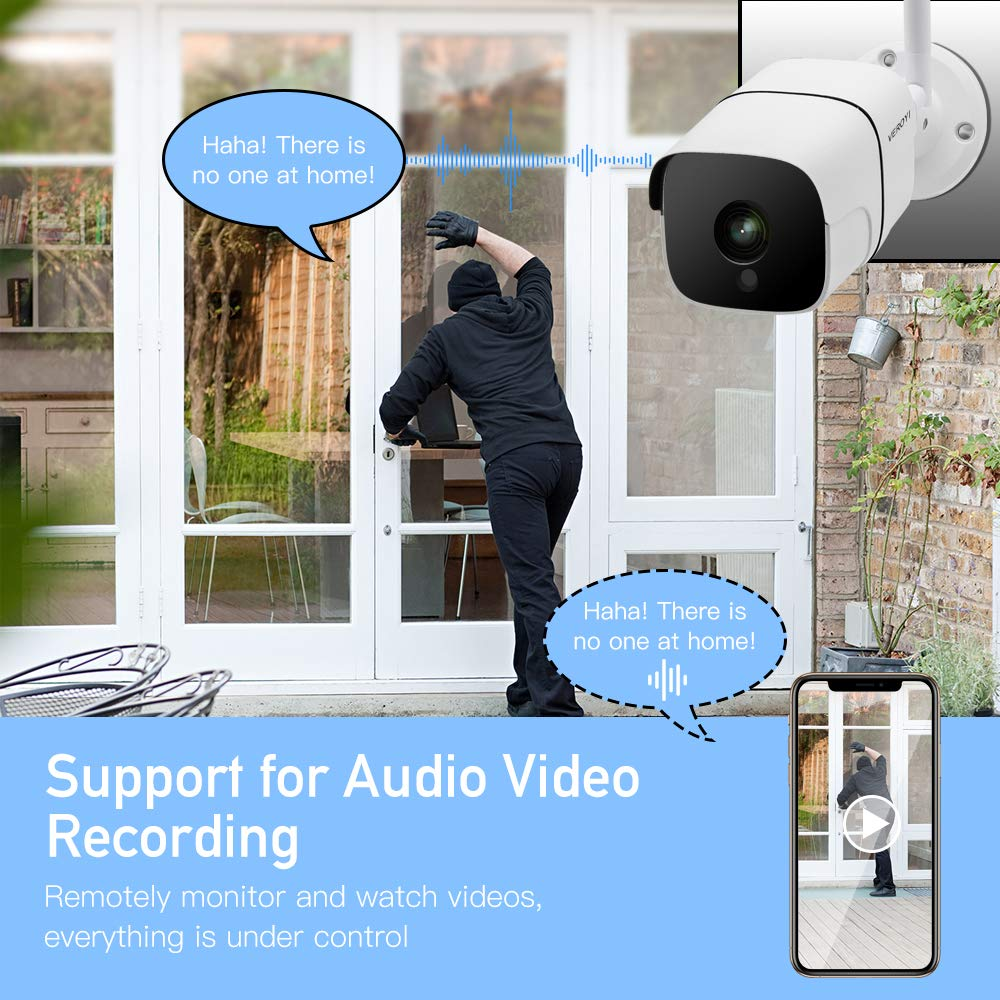 Veroyi Outdoor Security Camera, 1080P Wi-Fi Wireless Surveillance Camera with Night Vision/Motion Detection, Two-Way Audio, Remote Monitor Auto Motion